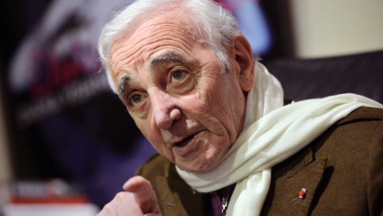Charles Aznavour, le 6 avril 2012 à New York.