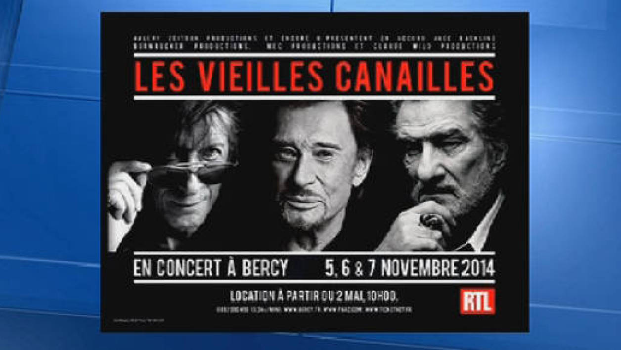 L'affiche des futurs shows de Johnny Hallyday, Jacques Dutronc et Eddy Michell.