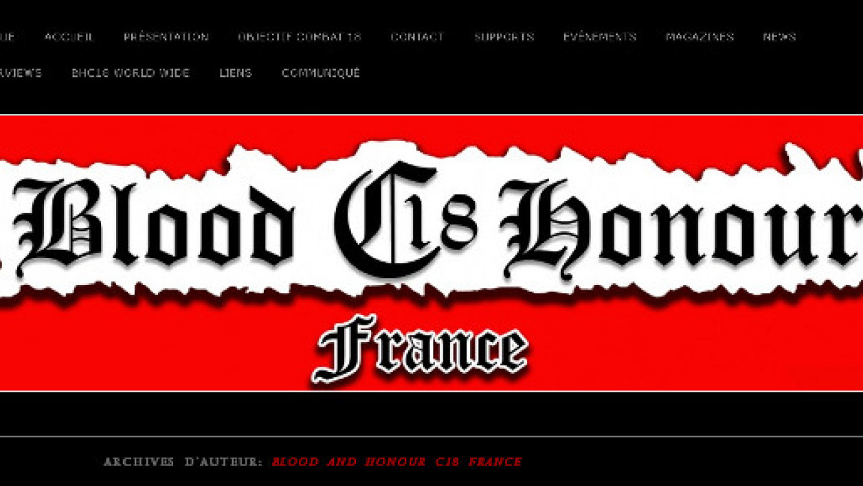 "Le logo du groupuscule ""Blood C18 Honour"" sur son site Internet."