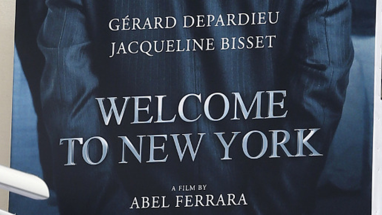 "L'affiche du film ""Welcome to New York"" dans lequel Gérard Depardieu interprète Dominique Strauss-Kahn"