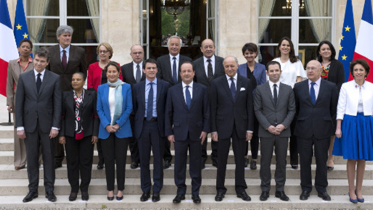 La photo de famille du gouvernement Valls.