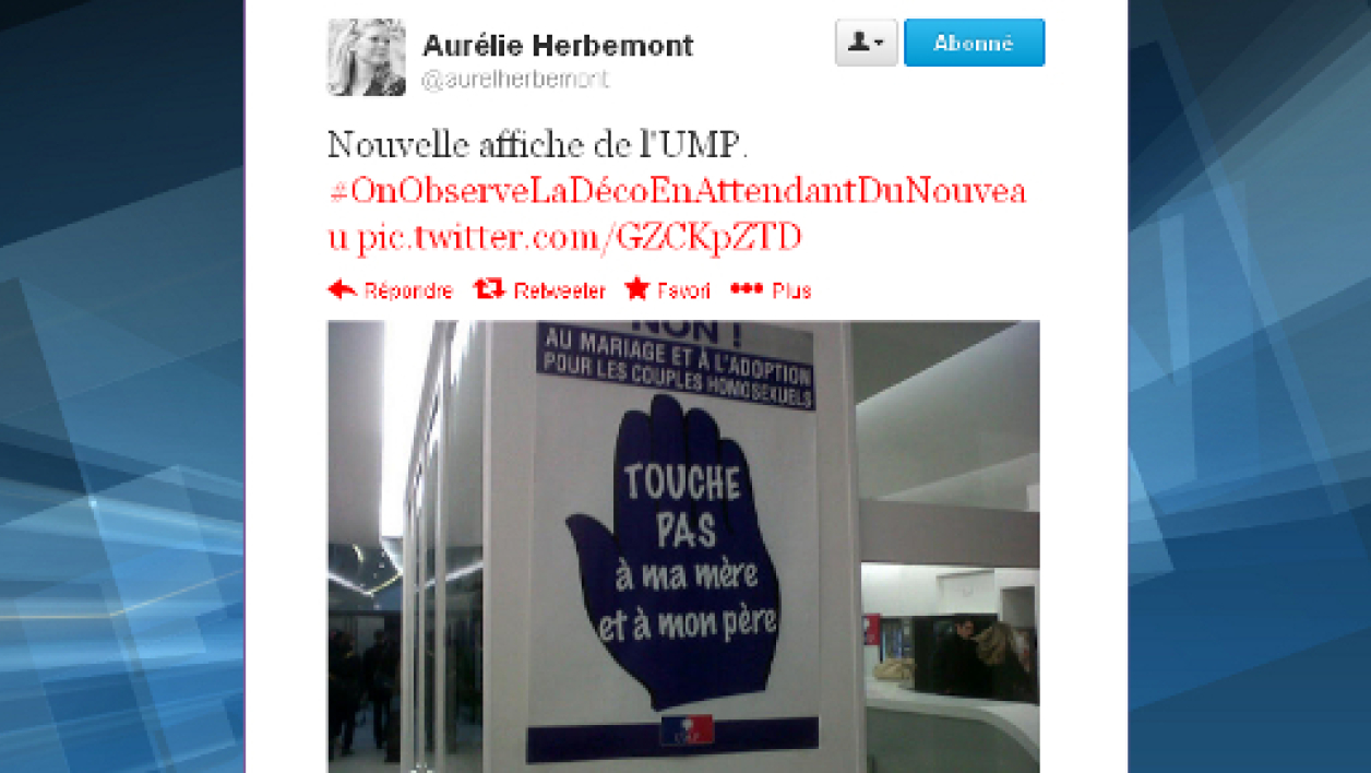 L'affiche en question, prise en photo par une journaliste au Bureau politique de l'UMP.