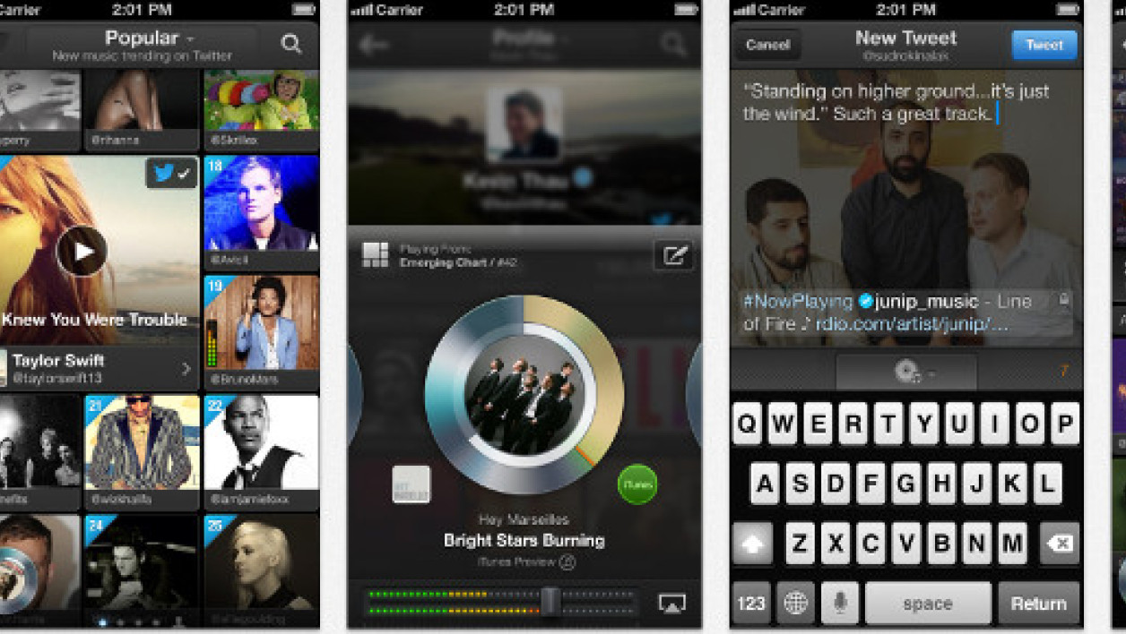 L'interface de la nouvelle application Twitter #music, depuis l'iTunes Store.