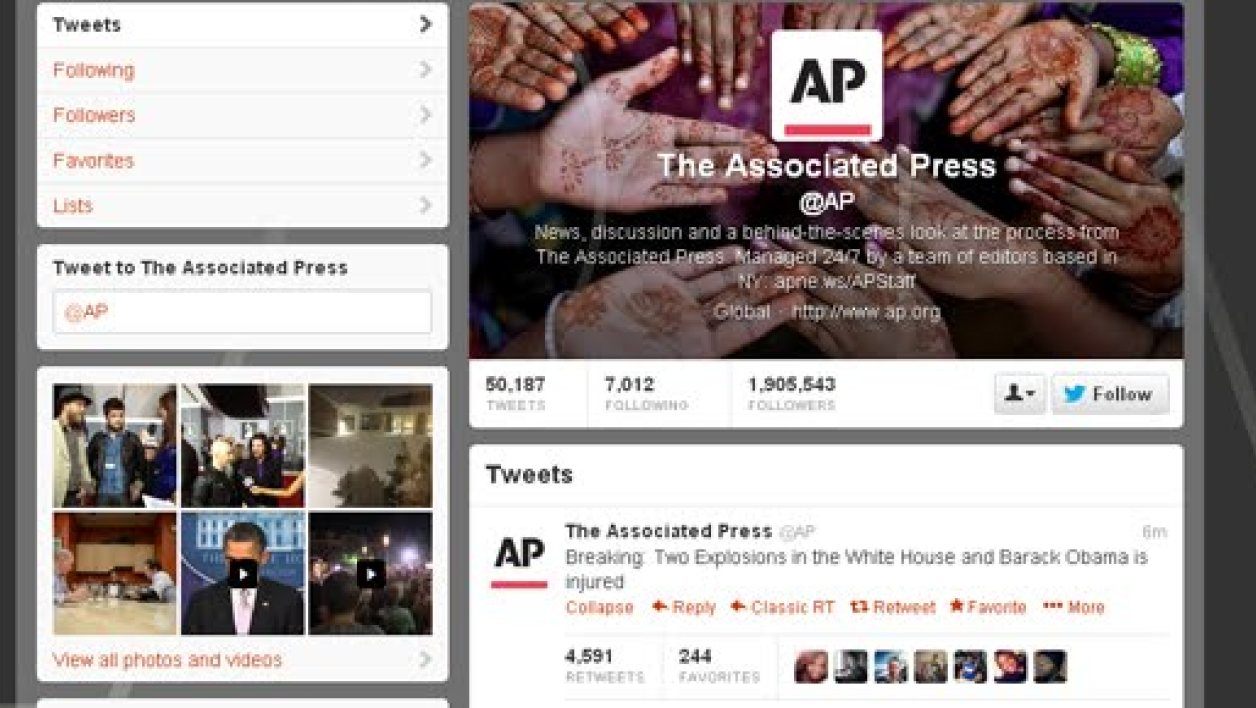 Le compte Twitter d'Associated Press peu avant le piratage