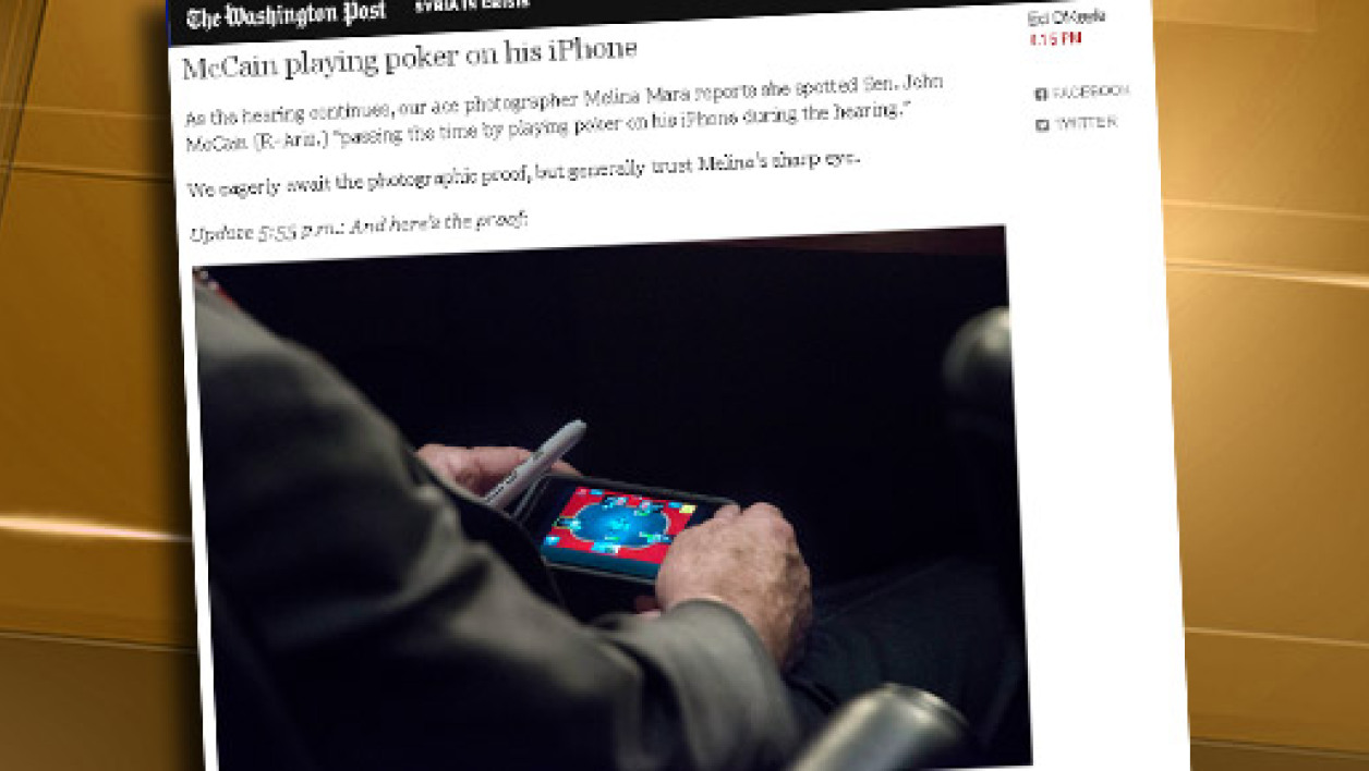 Une Photographe du Washington Post, Melina Mara, a surpris John McCain en train de jouer au poker sur son iPhone.