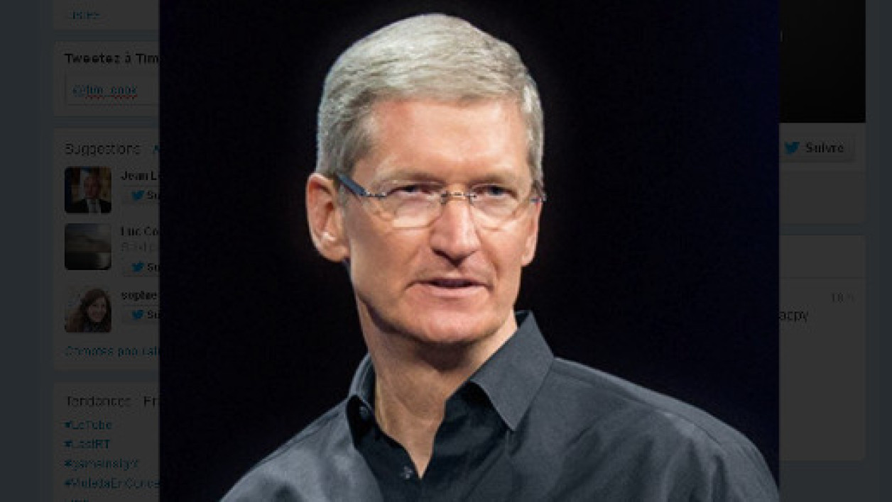 La photo du fil Twitter officiel de Tim Cook, partron d'Apple.