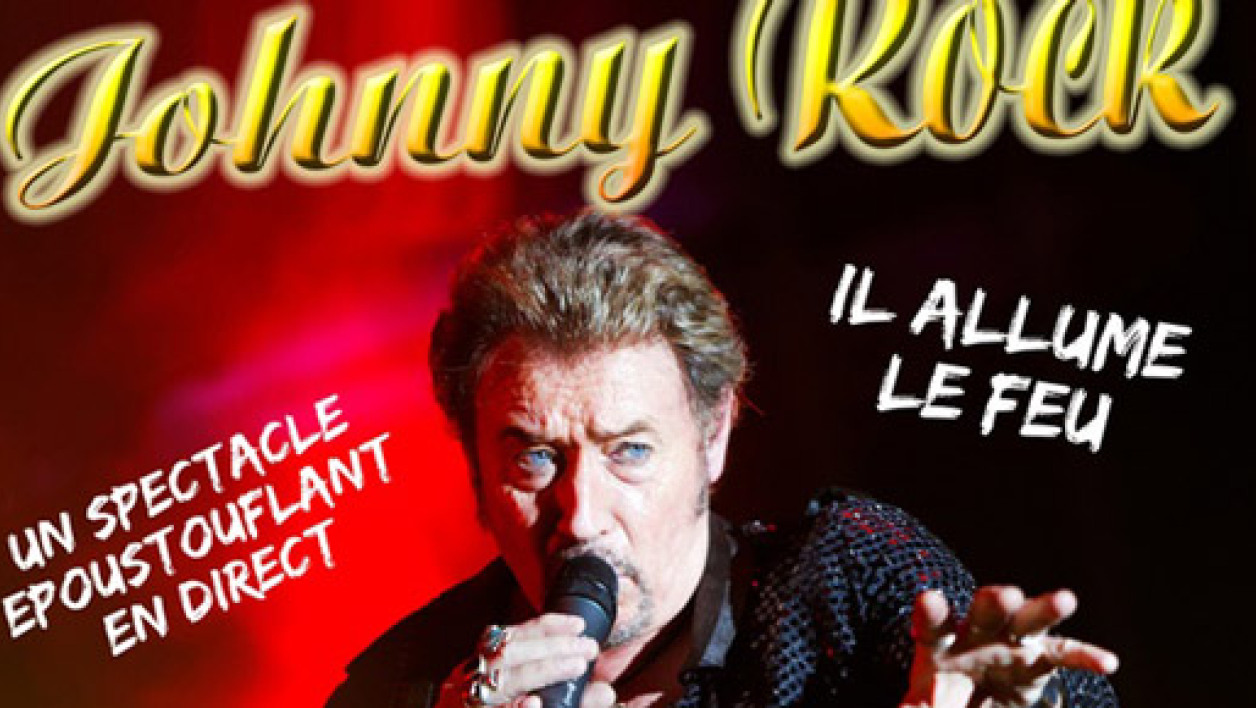 "Affiche d'un concert de Johnny Rock, qui se présente comme ""le sosie officiel"" de Johnny Hallyday."