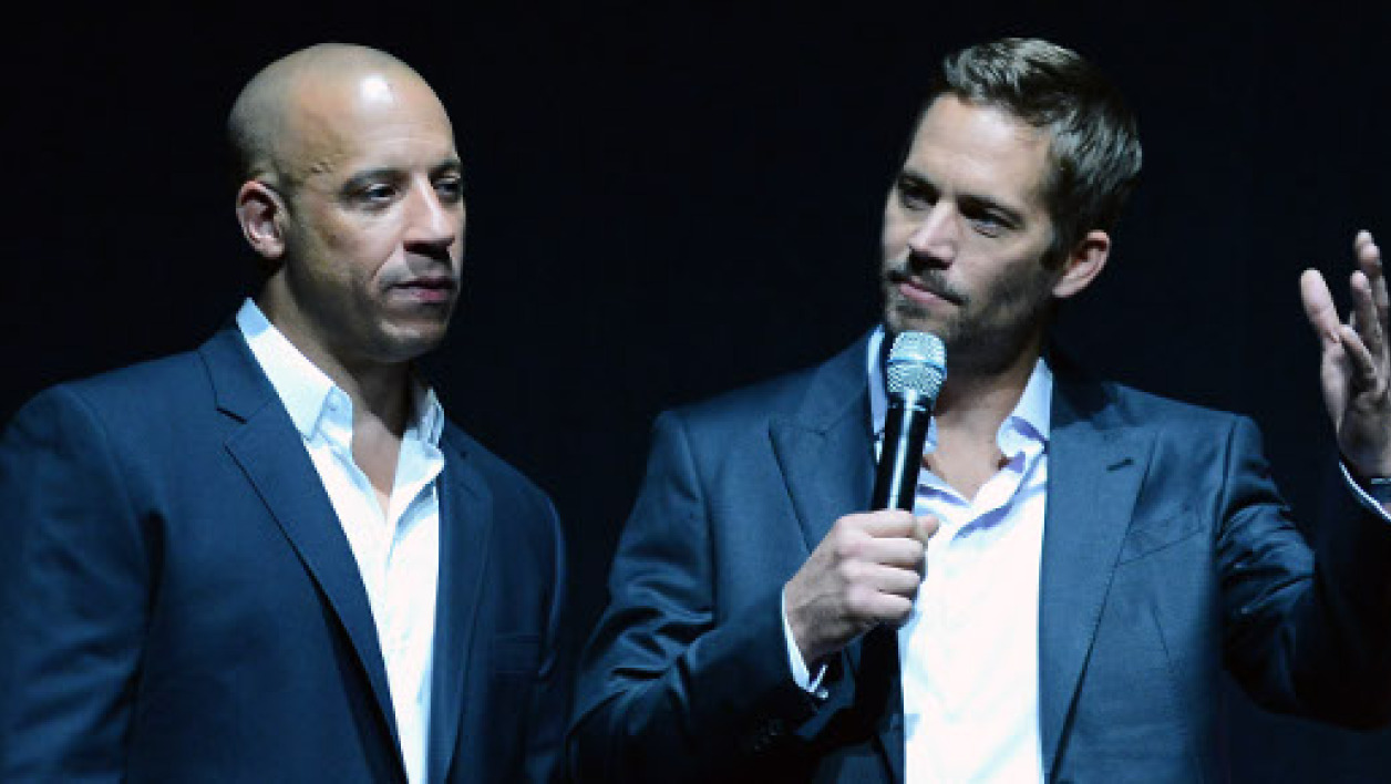 "Paul Walker et Vin Diesel, lors de la promotion de ""Fast and Furious 6"", à Las Vegas, en avril 2013."