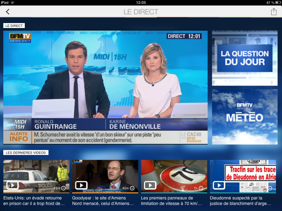 La page du direct de l'antenne de l'appli iPad de BFMTV.