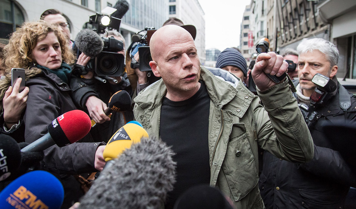 Sven Mary, Belgian lawyer of Paris attacks suspect Salah Abdeslam, talks to the media outside the building of the Federal Police in Brussels, on March 19, 2016. Top Paris attacks suspect Salah Abdeslam, who was captured in a dramatic raid in Brussels, was to be questioned by Belgian police on March 19, 2016 ahead of his speedy transfer to France. Following his release from hospital where he was treated for a slight gunshot wound to the leg sustained during his arrest, Abdeslam was to be quizzed over his role in the November 13 massacre which killed 130 people and was claimed by the Islamic State (IS) group.