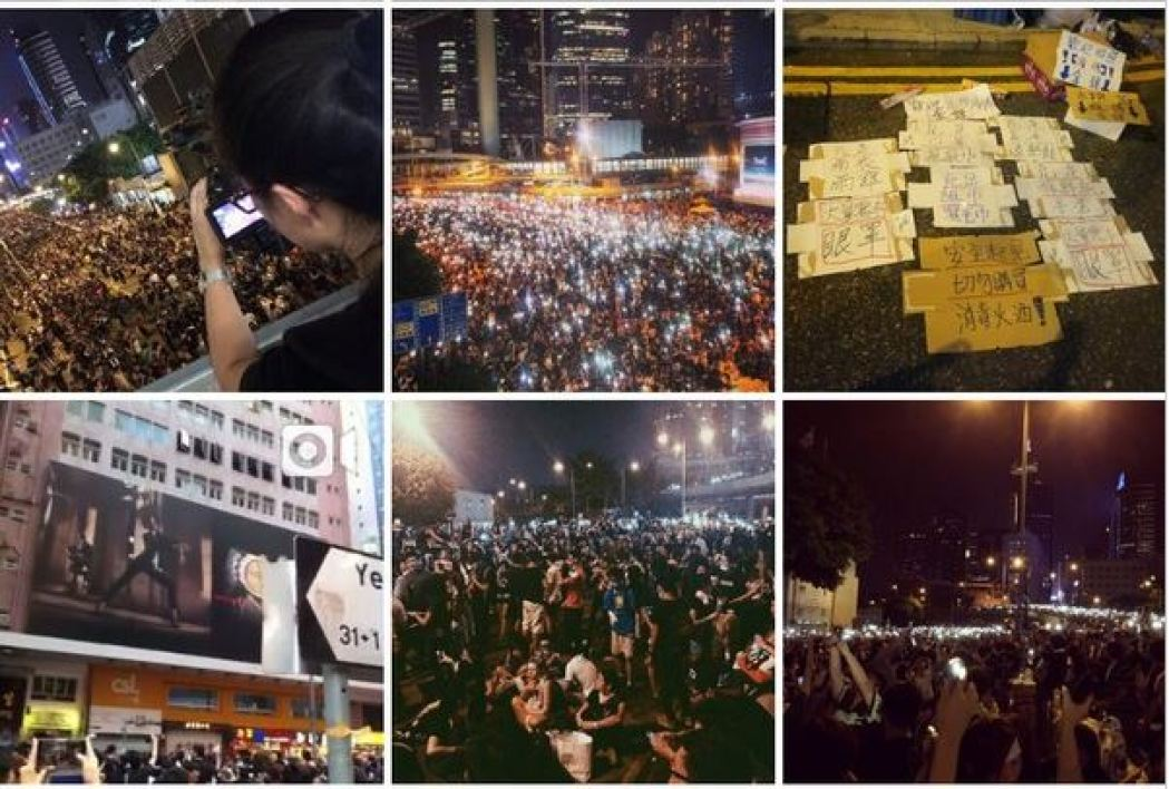 Des photos de l'occupation du quartier Central de Hong Kong, sur Instagram.