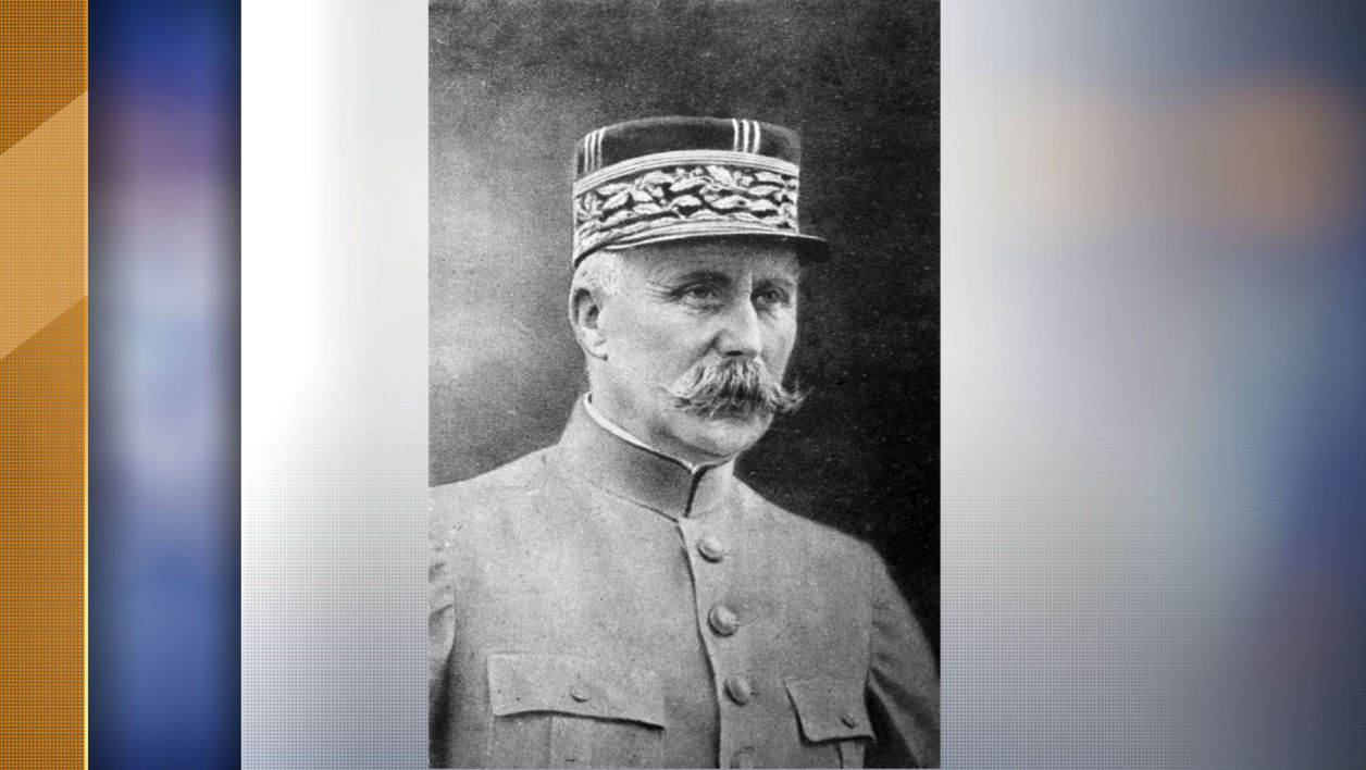 "In this file photo released by the WWI Museum ""Historial de Peronne"" and taken on August 15, 1914 shows a post card representing a 1914 portrait of French Marshal Philippe Petain during the World War I."