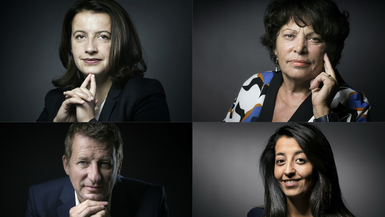 This combination of pictures created on September 19, 2016 shows the four candidates for the upcoming EELV (Europe-Ecologie-les-Verts) Ecologist party primaries ahead of the 2017 French presidential election. From top left to bottom right: Co-President of the EELV group at the French National Assembly and former minister Cecile Duflot in Paris on November 9, 2015.
