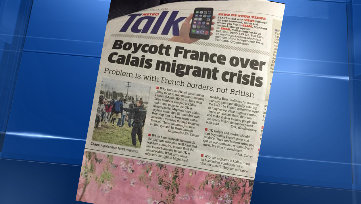 Metro UK a appelé au boycott de la France  vendredi.