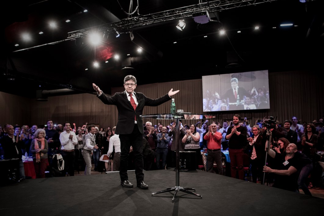 "Jean-Luc Melenchon, candidate in the upcoming parliamentary elections (elections legislatives in French) for the far-left coalition ""La France insoumise"" delivers a speech during the official presentation of the party's candidates , in Villejuif on the outskirts of Paris on May 13, 2017.  The two-round parliamentary elections wil take place in France on June 11 and June 18. PHILIPPE LOPEZ / AFP"