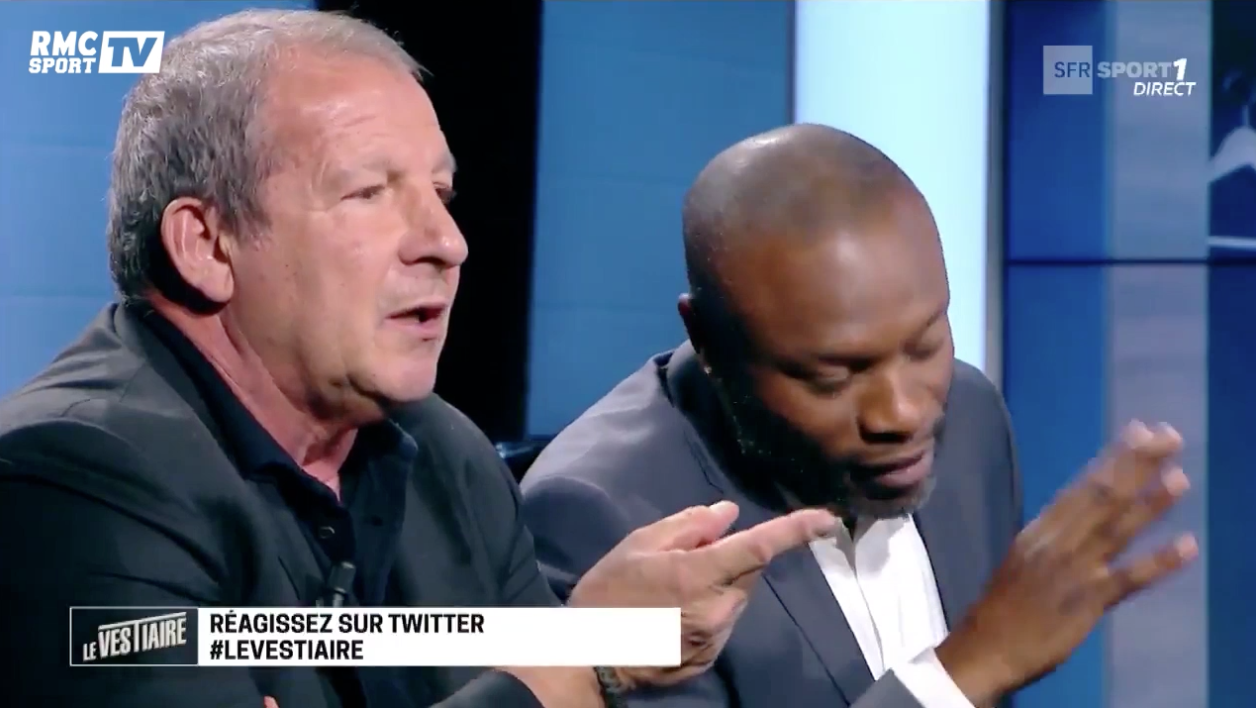 Rolland Courbis et William Gallas dans Le Vestiaire