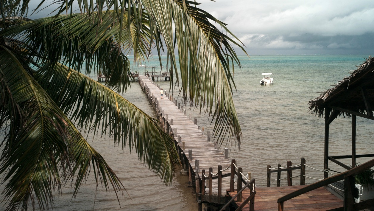 This file picture taken on August 8, 2016 shows a mooring footbridge on one of the beach of Saint Marie Island. Two young French volunteers found dead on August 21, 2016 on an island off the northeast coast of Madagascar were likely murdered, authorities said. The victims, a man and a woman in their twenties, were volunteers at Cetamada, a local environmental non-profit organisation working to protect ocean mammals.