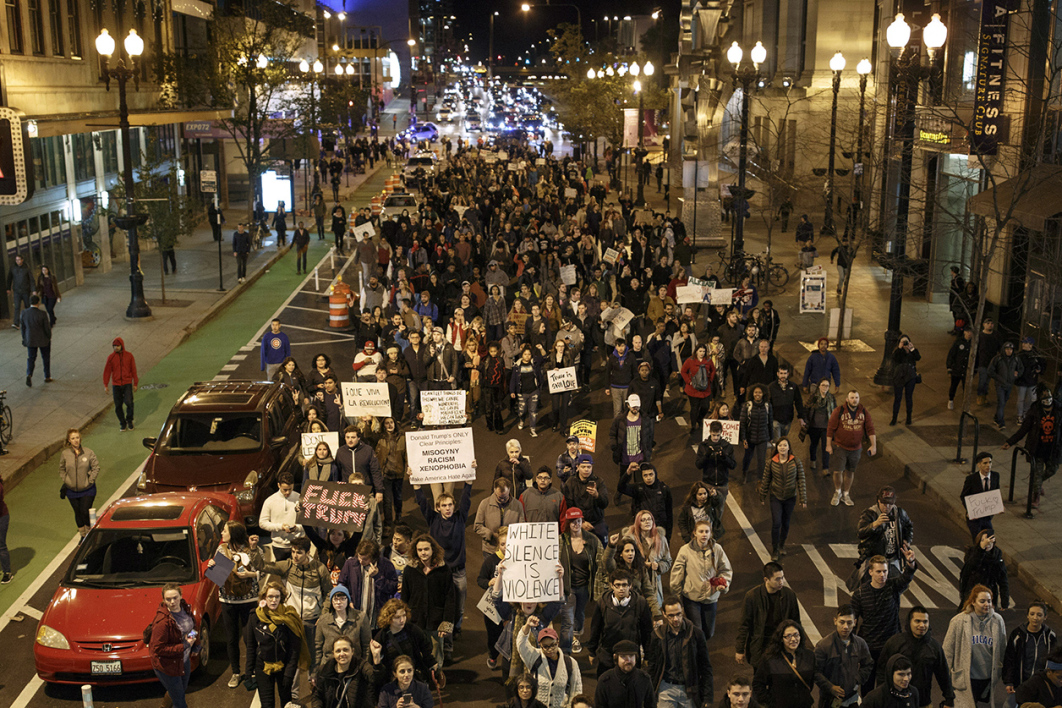 Anti-Trump Demonstrators protest on November 9, 2016 in Chicago, Illinois. Thousands of people across the United States took to the streets in protest a day after Republican Donald Trump was elected president, defeating Democrat Hillary Clinton