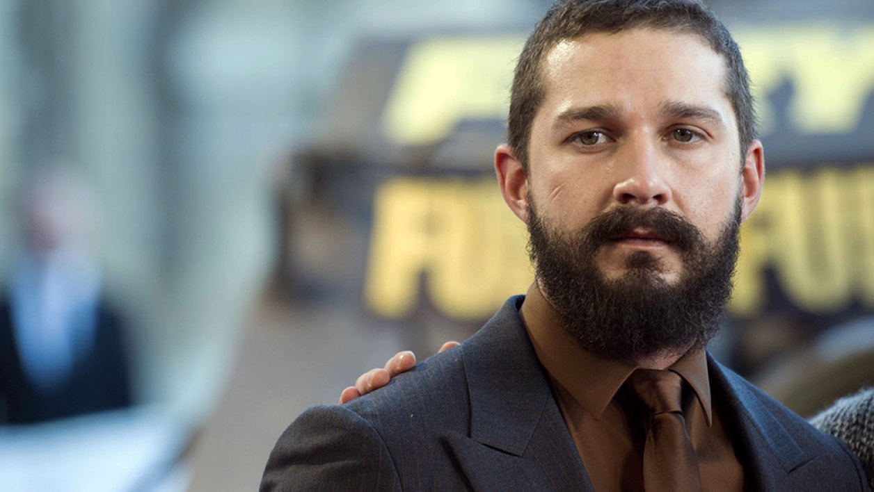 "US actor Shia LaBeouf poses during a photocall for the film ""Fury"", on October 18, 2014 in Paris."