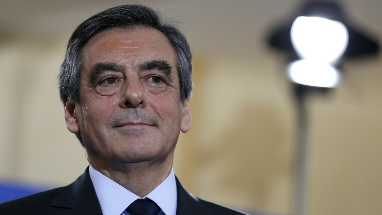 French member of Parliament and candidate for the right-wing primaries ahead of France's 2017 presidential elections, Francois Fillon delivers a speech following the first results of the primary's second round on November 27, 2016, at his campaign headquarters in Paris. France's conservatives held final run-off round of a primary battle on November 27 to determine who will be the right wing nominee for next year's presidential election.
