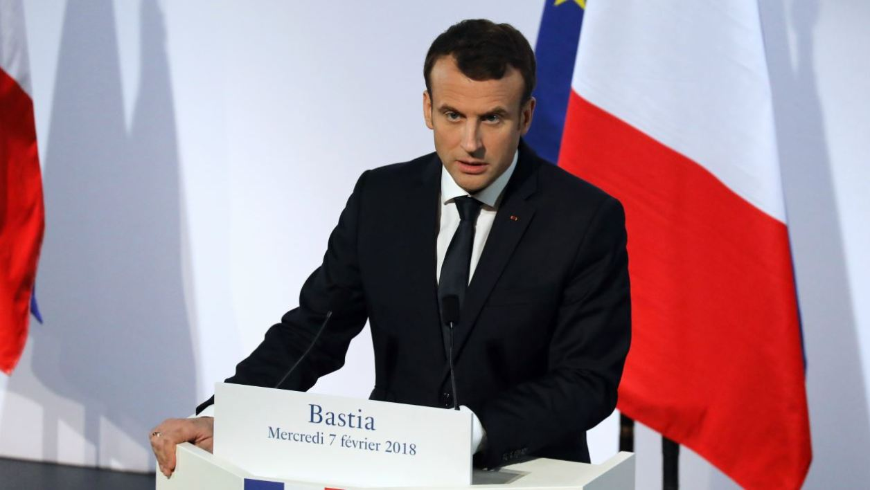 French President Emmanuel Macron delivers a speech at the Alb'Oru cultural centre in Bastia, on the French Mediterranean island of Corsica, on February 7, 2018. Macron's two-day visit to Corsica is being closely watched on the mainland, where some fear that giving the Mediterranean island too much autonomy could fuel a breakaway bid in the future. Ludovic MARIN / AFP