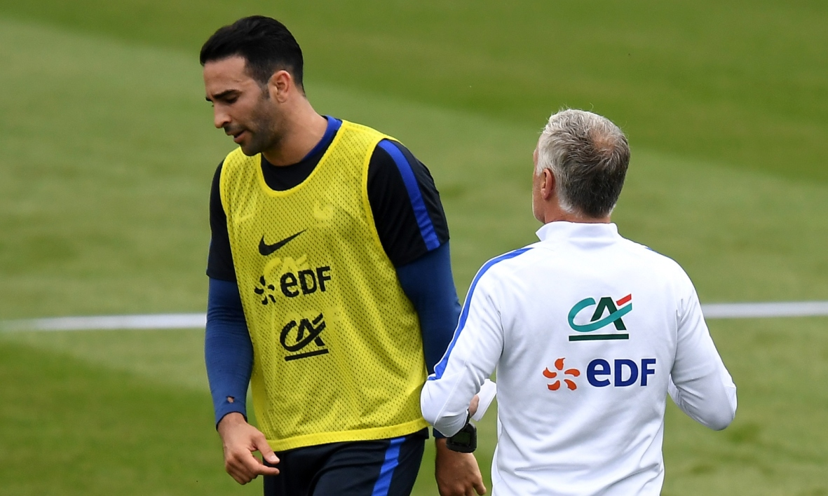 Adil Rami et Didier Deschamps