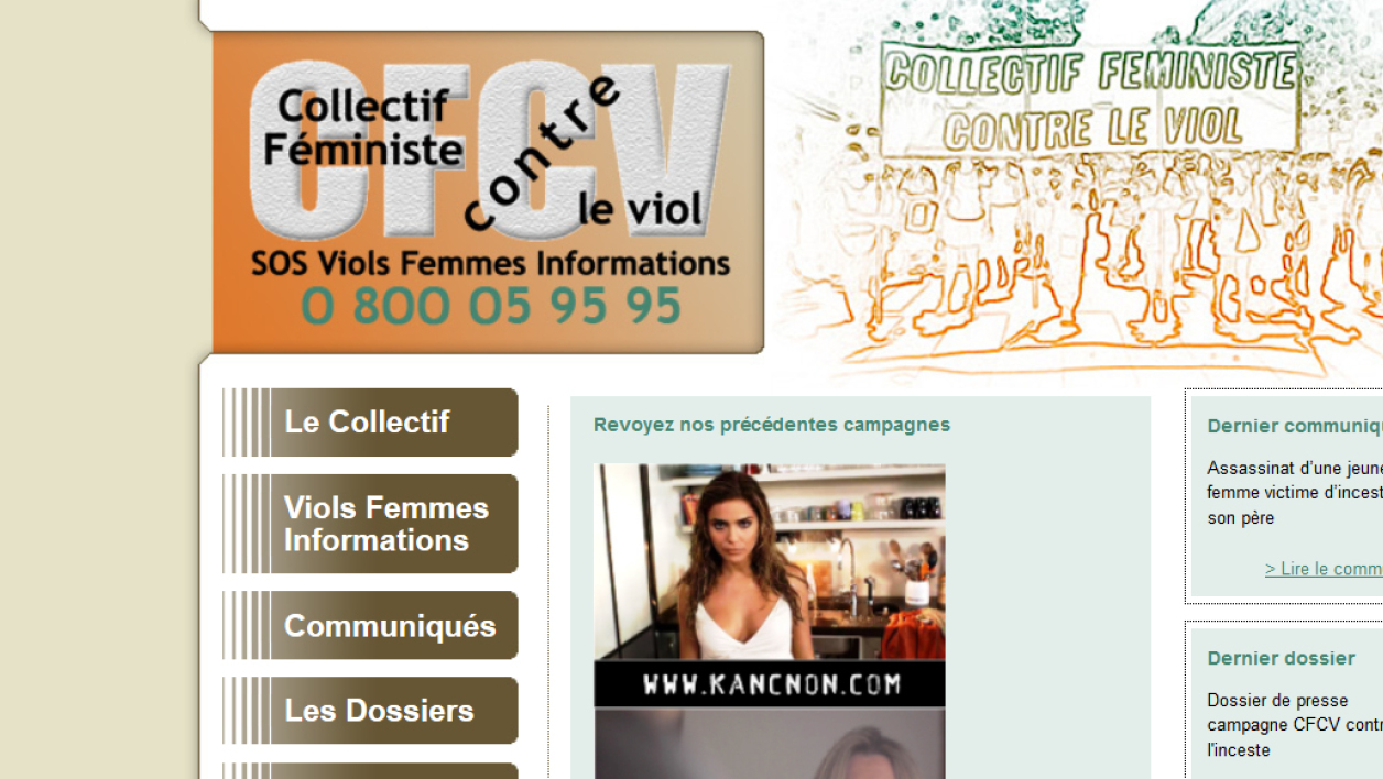 Capture du site Internet du Collectif féministe contre le viol