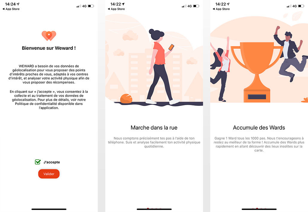 Interface de l'application WeWard