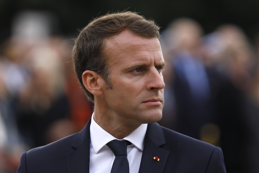 French President Emmanuel Macron attends a ceremony commemorating General Charles De Gaulle's June 1940 appeal for French resistance against Nazi Germany, at the Mont Valerien National Memorial in Suresnes on the outskirts of Paris on June 18, 2018.  CHARLES PLATIAU / POOL / AFP