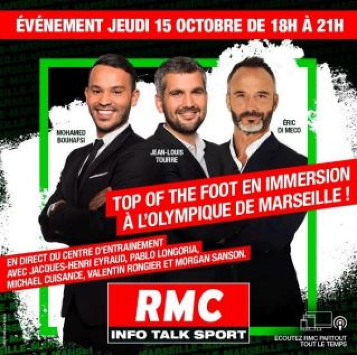 """Top of the Foot"" en immersion en direct de l'Olympique de Marseille de 18h à 21h"