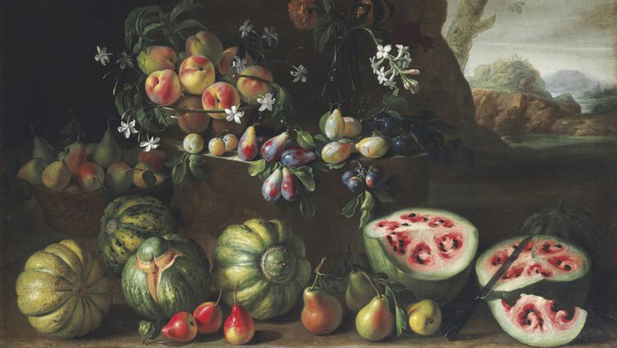 Watermelons, peaches, pears and other fruit in a landscape; and Chrysanthemums, tulips, irises and other flowers and fruit in a landscape oil on canvas. Giovanni Stanchi (Rome c. 1645-1672)