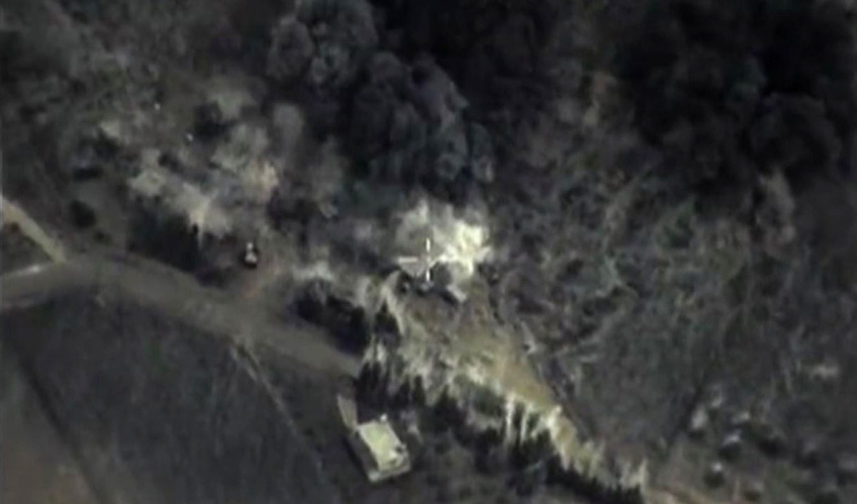 A video grab made on September 30, 2015, shows an image taken footage made available on the Russian Defence Ministry's official website, purporting to show an airstrike in Syria. Russia launched air strikes in war-torn Syria, its first military engagement outside the former Soviet Union since the occupation of Afghanistan in 1979. Russian warplanes carried out strikes in three Syrian provinces along with regime aircraft as Putin seeks to steal US President Barack Obama's thunder by pushing a rival plan to defeat Islamic State militants in Syria