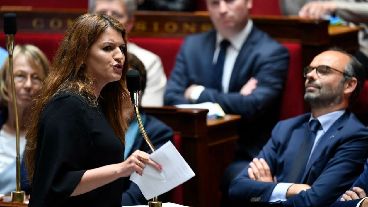 French Junior Minister for Gender Equality Marlene Schiappa speaks during a session of questions to the government at the French National Assembly, in Paris, on May 15, 2018.  CHRISTOPHE SIMON / AFP