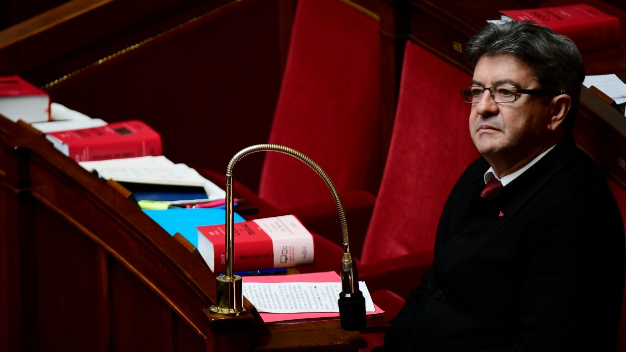La France Insoumise (LFI) leftist party's leader and Member of Parliament, Jean-Luc Melenchon attends an extraordinary session of the French National Assembly, during which the French Prime Minister addresses his general policy speech on July 4, 2017 in Paris. Martin BUREAU / AFP