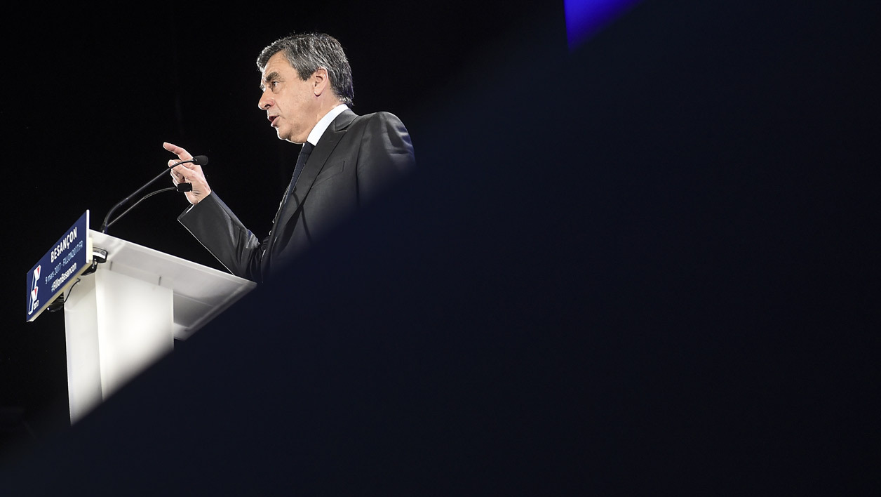 French presidential election candidate for the right-wing Les Republicains (LR) party Francois Fillon attends a debate organised by the EBG (Electronic Business Group) on January 31, 2017, in Paris.