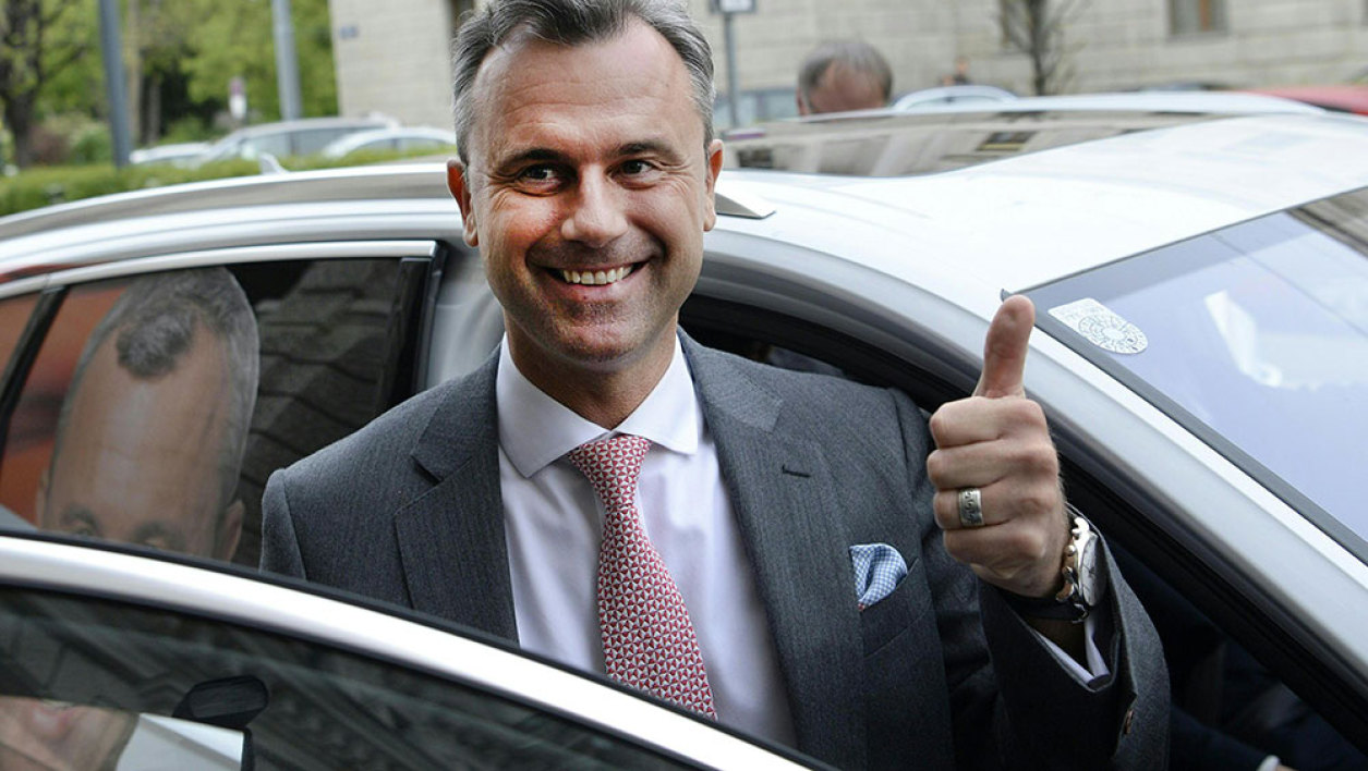 The canditate in the Austrian presidential elections Norbert Hofer of the Freedom Party (FPOe) gestures on April 24, 2016 in Vienna. Austria's anti-immigration far-right triumphed in the first round of presidential elections, dealing a rude wake-up call to Vienna's cosy political establishment two years before the next scheduled general election.