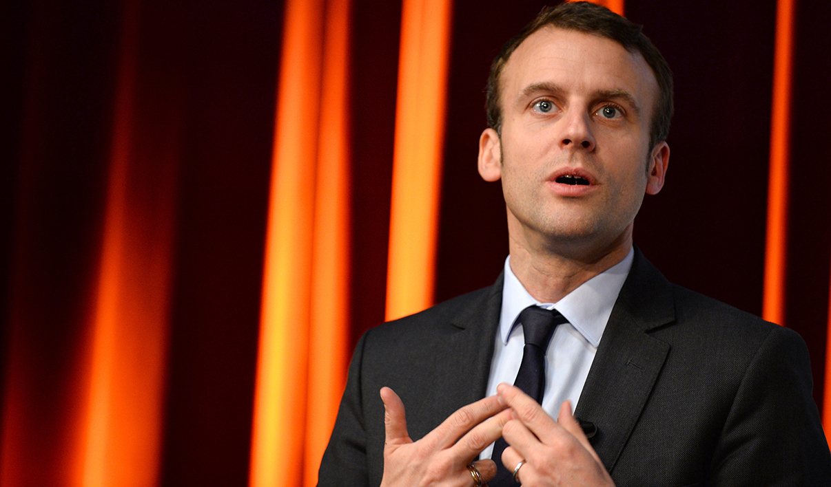 French Economy Minister Emmanuel Macron takes part in an event organized by Mines-Telecom Institue and Cisco at Telecom ParisTech school in Paris on April 13, 2016.