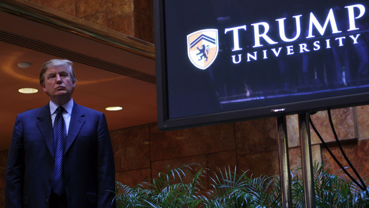 (files) This May 23, 2005, file photo shows real estate mogul Donald Trump holding a media conference to announce the establishment of Trump University in New York City. Trump is close to reaching a $20 million settlement to end two class-action lawsuits accusing his Trump University of having been a fraud, a source close to the case said on November 18. 2016. Thos Robinson / GETTY IMAGES NORTH AMERICA / AFP