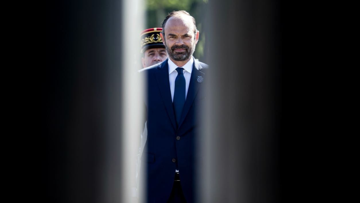 French Prime Minister Edouard Philippe attends the ceremony marking the 73rd anniversary of the victory over Nazi Germany during WWII, in front of the Charles De Gaulle statue where laid flowers in Paris on May 8, 2018. Victory Day marks the day of the formal German defeat in World War II.