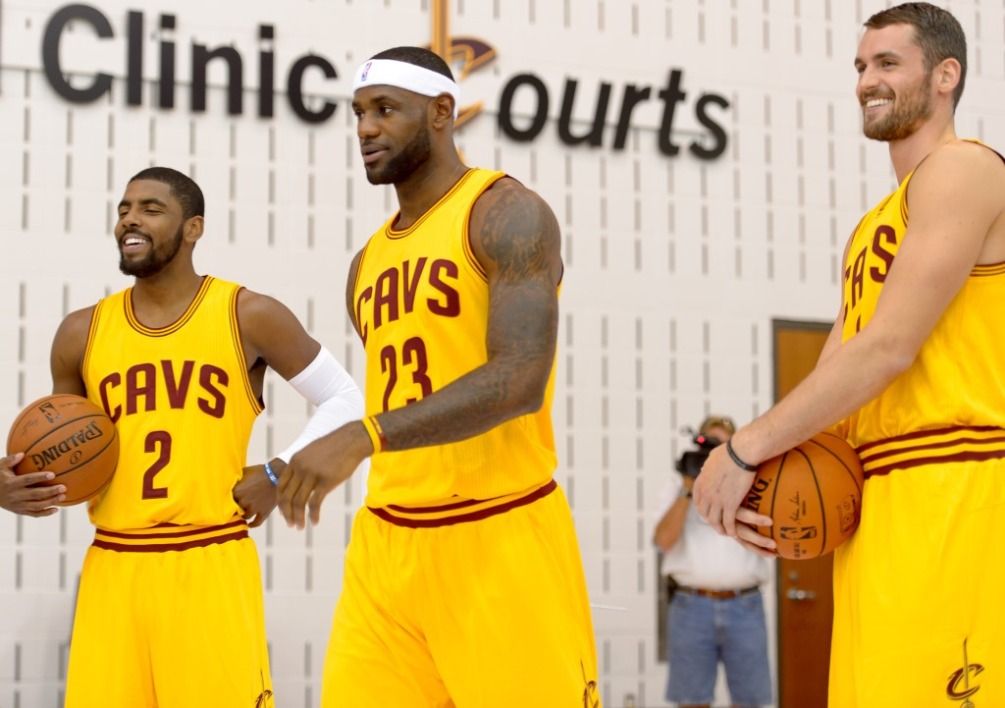 Kyrie Irving, LeBron James et Kevin Love