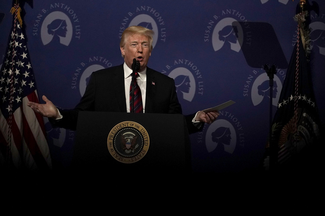 WASHINGTON, DC - MAY 22: U.S. President Donald Trump speaks during the Susan B. Anthony List's 11th annual Campaign for Life Gala at the National Building Museum May 22, 2018 in Washington, DC.