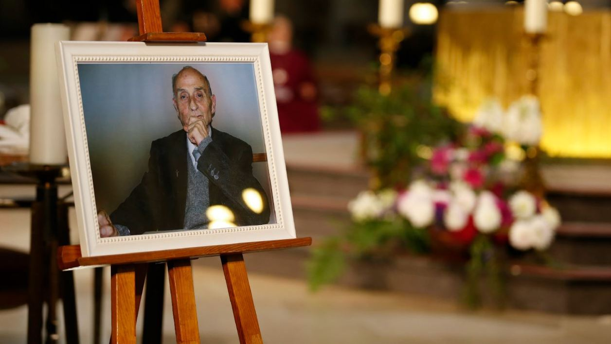 A picture of Father Jacques Hamel, the 85-year-old priest who was murdered by two jihadists is on display during Hamel's funeral at the Rouen cathedral in northern France on August 2, 2016.