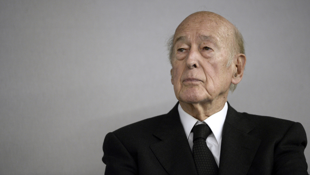Valéry Giscard d'Estaing le 14 octobre 2014 au Bourget, près de Paris.