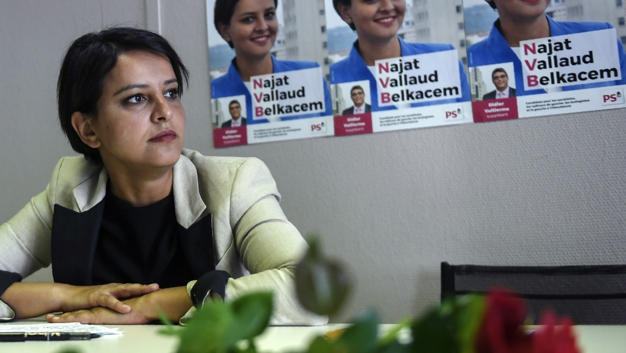Former French Education Minister and candidate for the France's Socialist political party (PS) for the upcoming parliamentary elections (elections legislatives in French) in Villeurbanne, Najat Vallaud-Belkacem, looks on prior to deliver a speech during a press conference on May 22, 2017 in Villeurbanne near Lyon, eastern France.  PHILIPPE DESMAZES / AFP