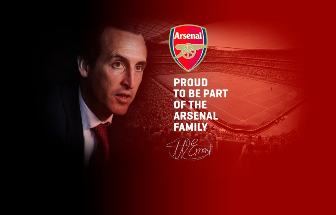 La page d'accueil du site officiel d'Unai Emery