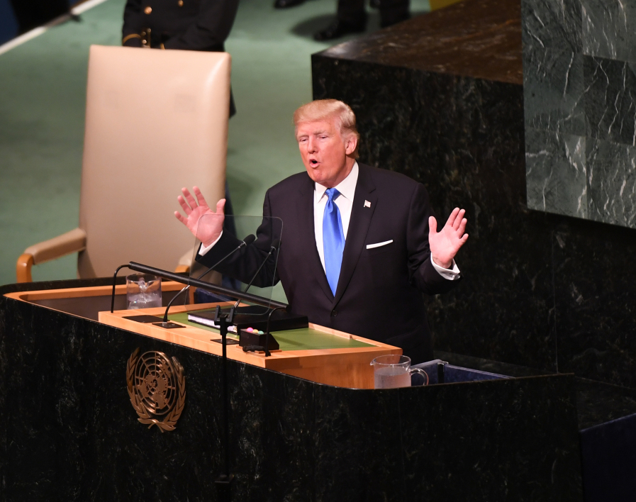 US President Donald Trump addresses the 72nd Annual UN General Assembly in New York on September 19, 2017.  DON EMMERT / AFP