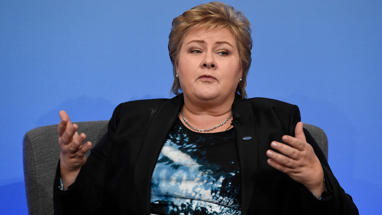 Erna Solberg Erna Solberg speaks during a panel discussion during the Anti-Corruption Summit London 2016, at Lancaster House in central London on May 12, 2016. British Prime Minister David Cameron announced plans Thursday to stop the flow of dirty money through the London property market, as he prepared to welcome world leaders and NGOs to an anti-corruption summit. FACUNDO ARRIZABALAGA / POOL / POOL / AFP