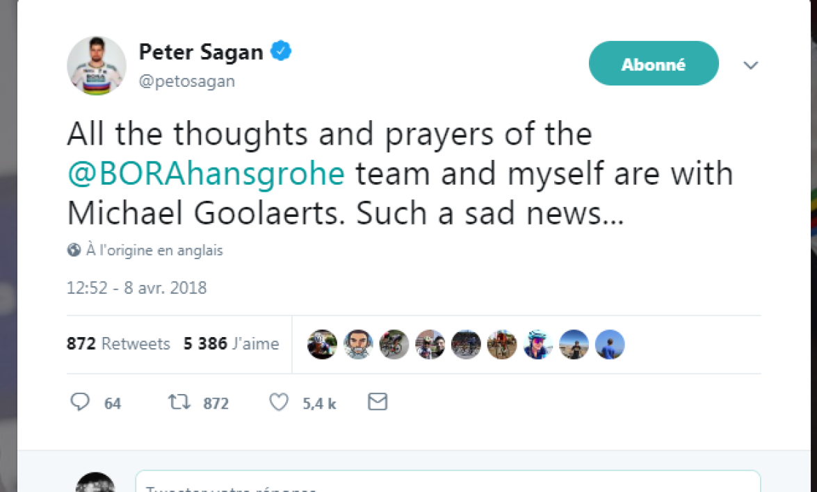 Le tweet de Peter Sagan