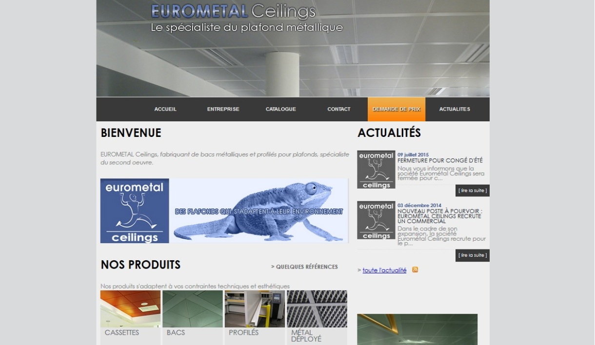Capture du site internet de l'entreprise Eurometal ceilings