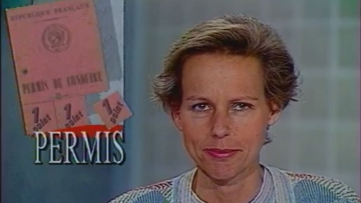 Dans son JT en 1989, Christine Ockrent annonce l'introduction à venir du permis à points.
